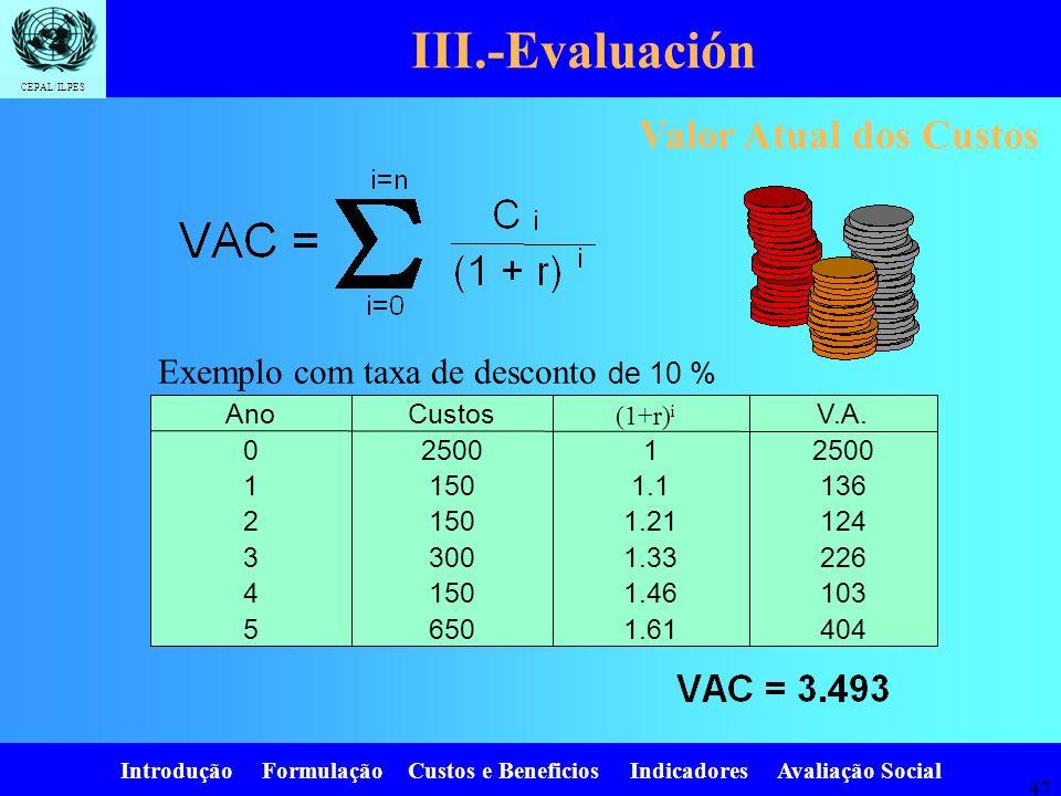 III.-Evaluación Valor Atual dos Custos