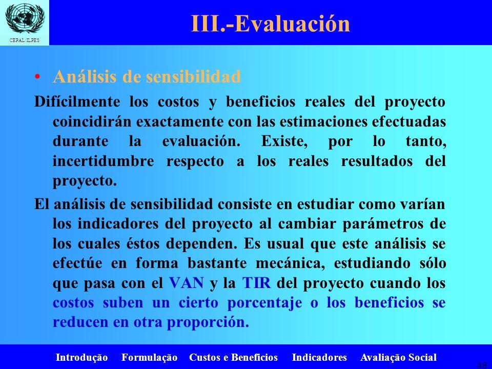 III.-Evaluación Análisis de sensibilidad