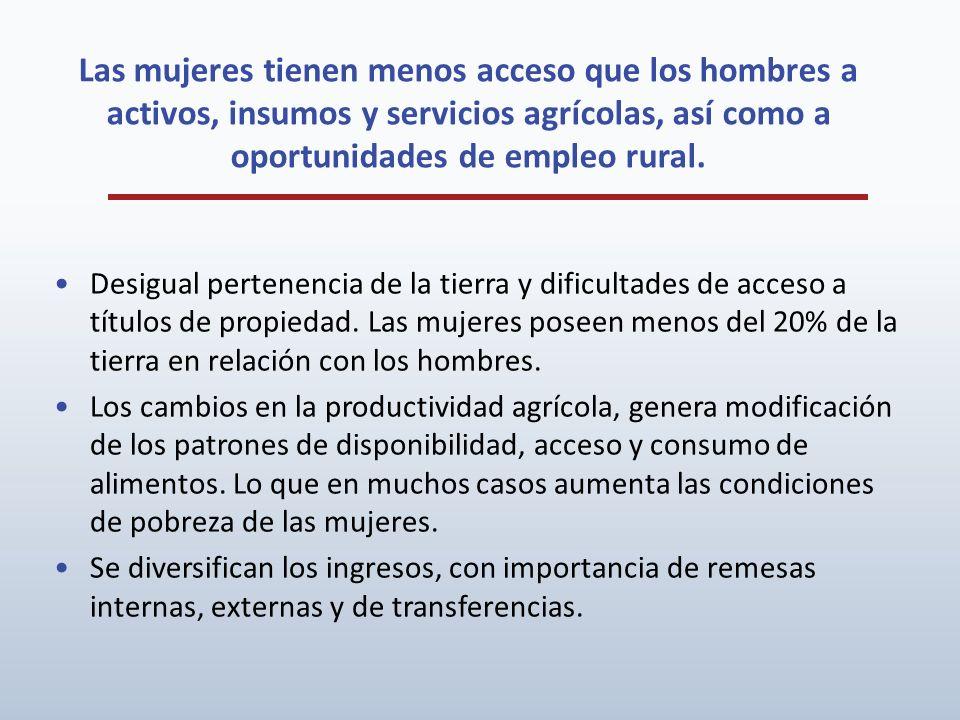 Las mujeres tienen menos acceso que los hombres a activos, insumos y servicios agrícolas, así como a oportunidades de empleo rural.