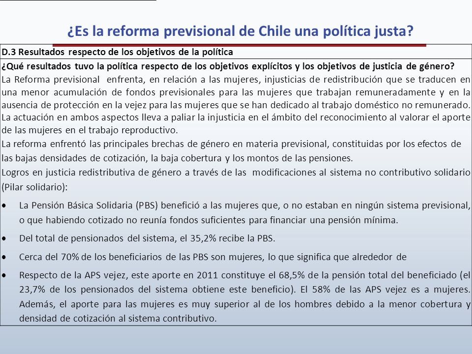 ¿Es la reforma previsional de Chile una política justa
