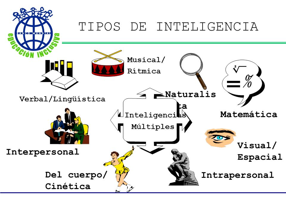TIPOS DE INTELIGENCIA Matemática Inteligencias Visual/ Espacial