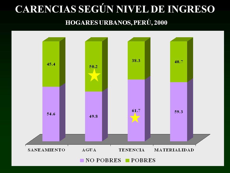 CARENCIAS SEGÚN NIVEL DE INGRESO