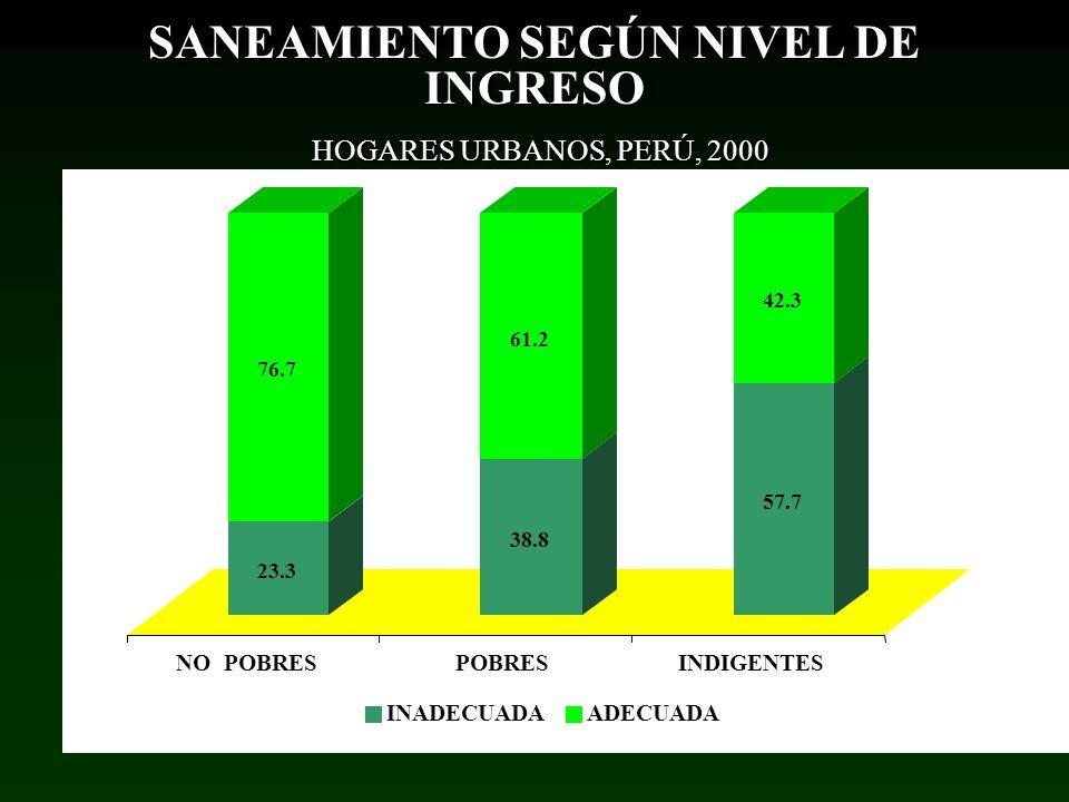 SANEAMIENTO SEGÚN NIVEL DE INGRESO