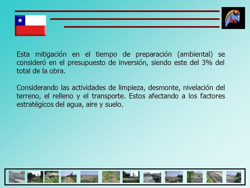 Esta mitigación en el tiempo de preparación (ambiental) se consideró en el presupuesto de inversión, siendo este del 3% del total de la obra.