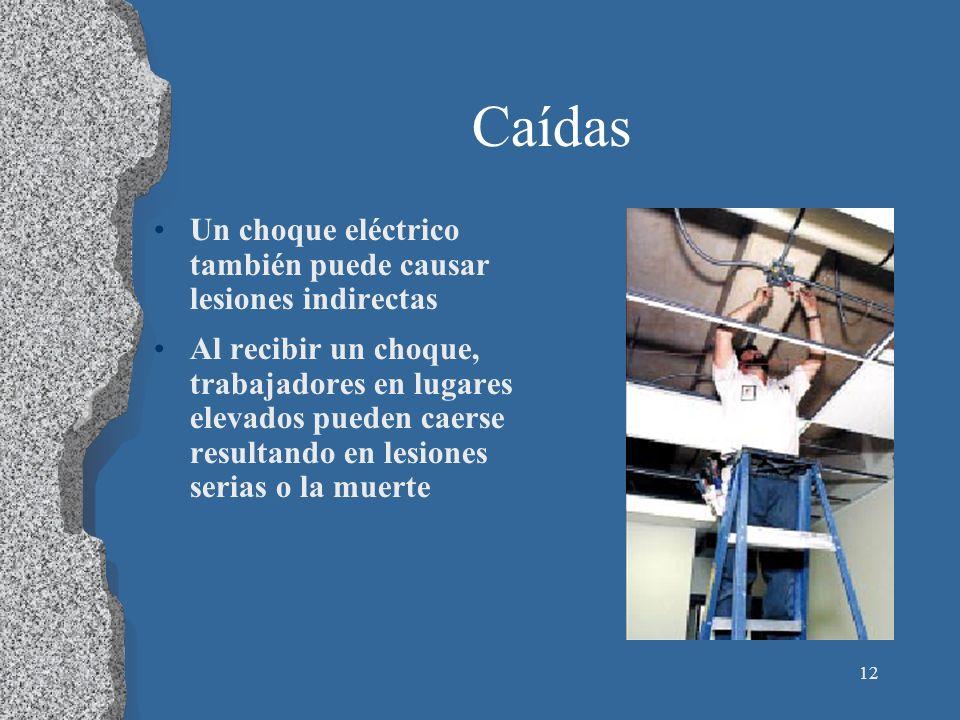 Caídas Un choque eléctrico también puede causar lesiones indirectas