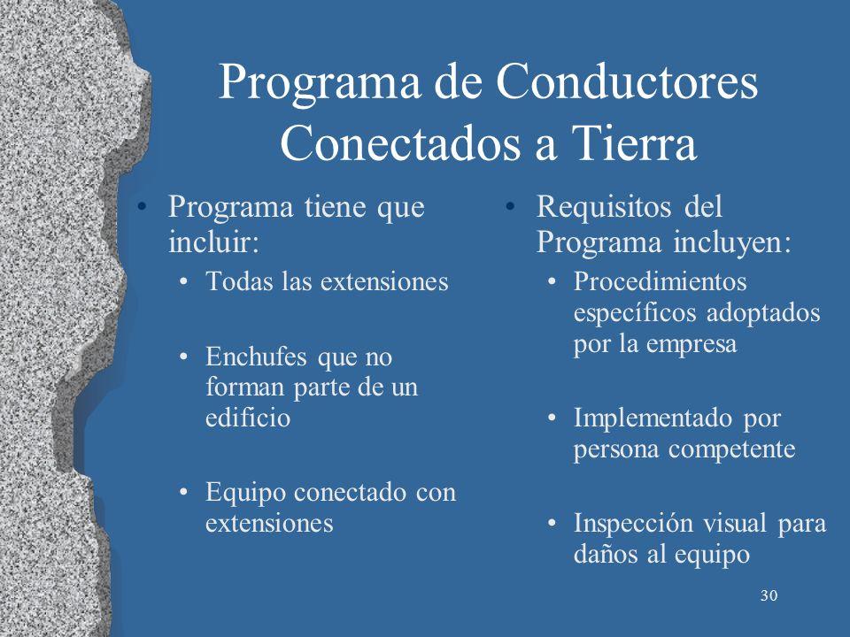 Programa de Conductores Conectados a Tierra