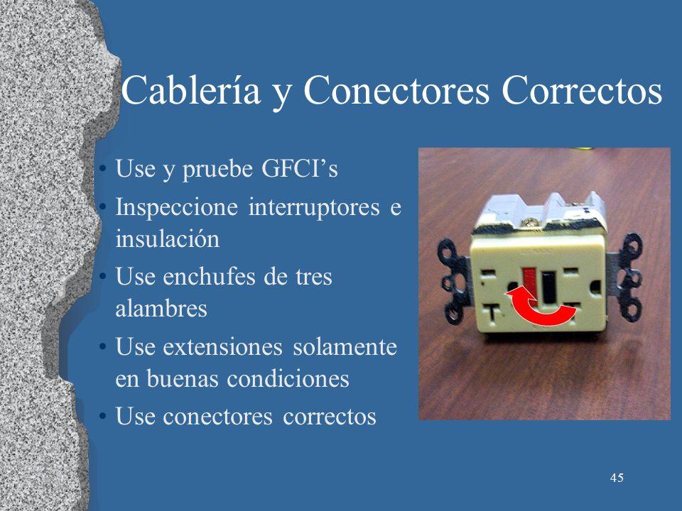 Cablería y Conectores Correctos