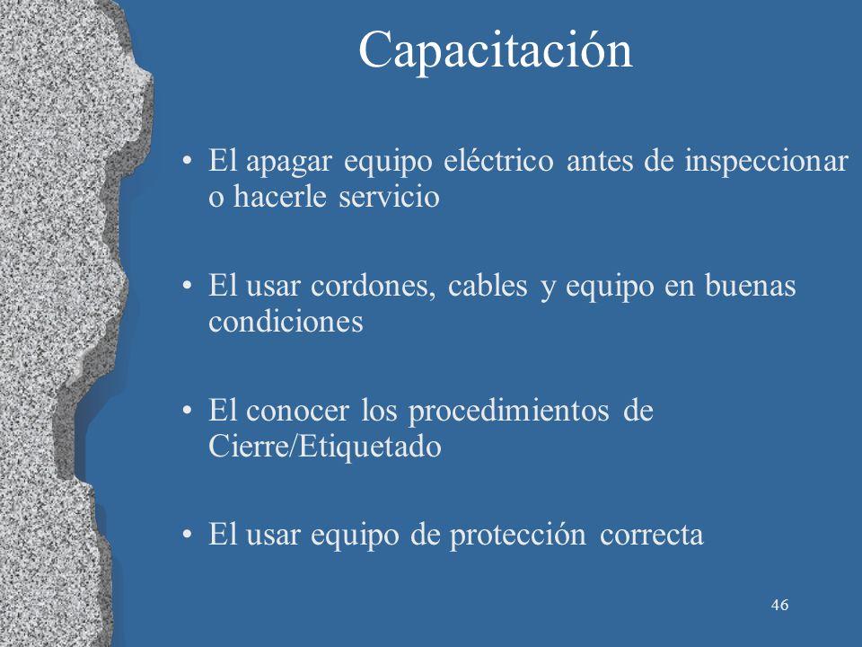 Capacitación El apagar equipo eléctrico antes de inspeccionar o hacerle servicio. El usar cordones, cables y equipo en buenas condiciones.