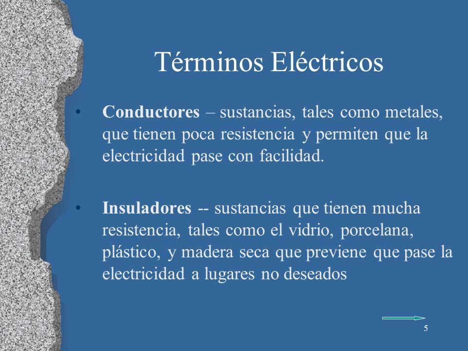 Términos Eléctricos Conductores – sustancias, tales como metales, que tienen poca resistencia y permiten que la electricidad pase con facilidad.