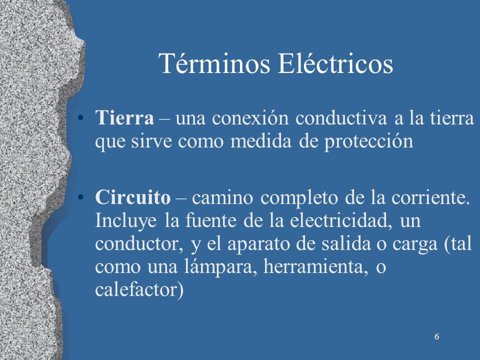 Términos Eléctricos Tierra – una conexión conductiva a la tierra que sirve como medida de protección.