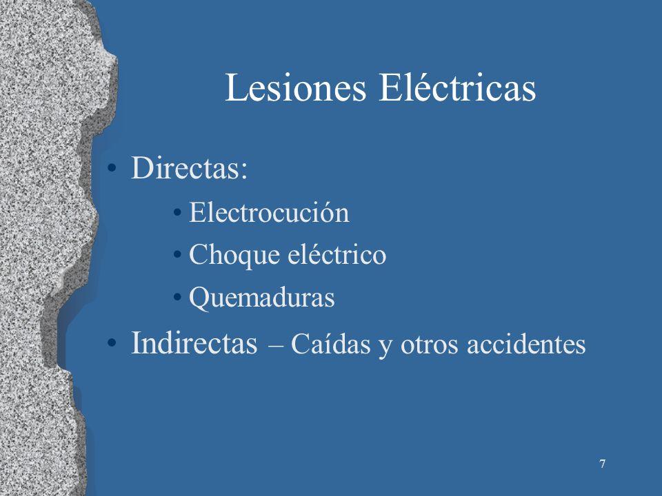 Lesiones Eléctricas Directas: Indirectas – Caídas y otros accidentes