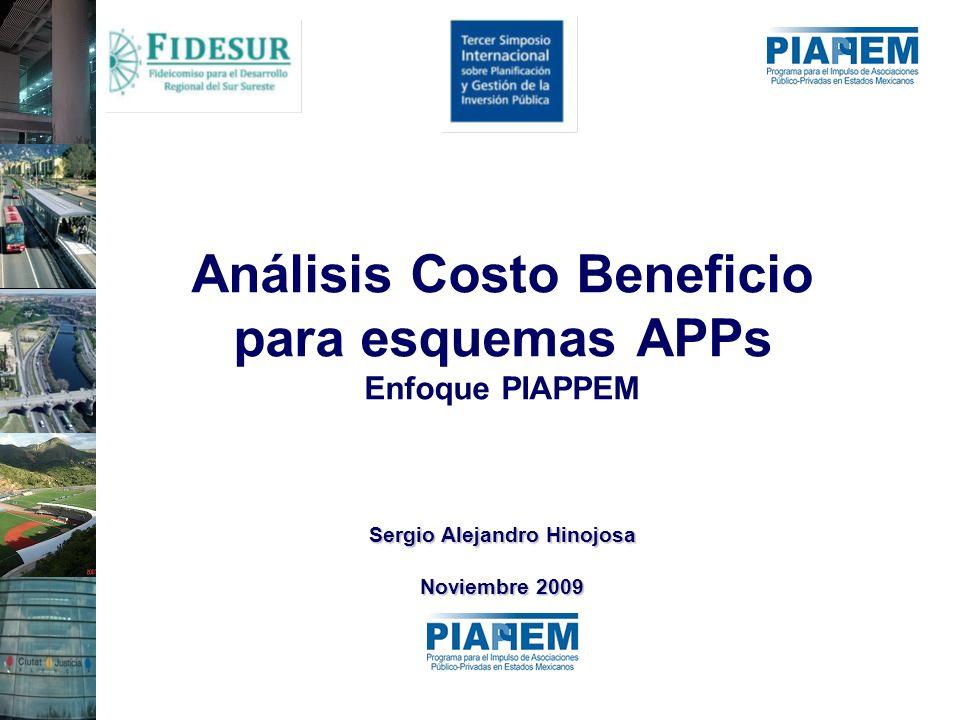 Análisis Costo Beneficio para esquemas APPs Enfoque PIAPPEM Sergio Alejandro Hinojosa Noviembre 2009