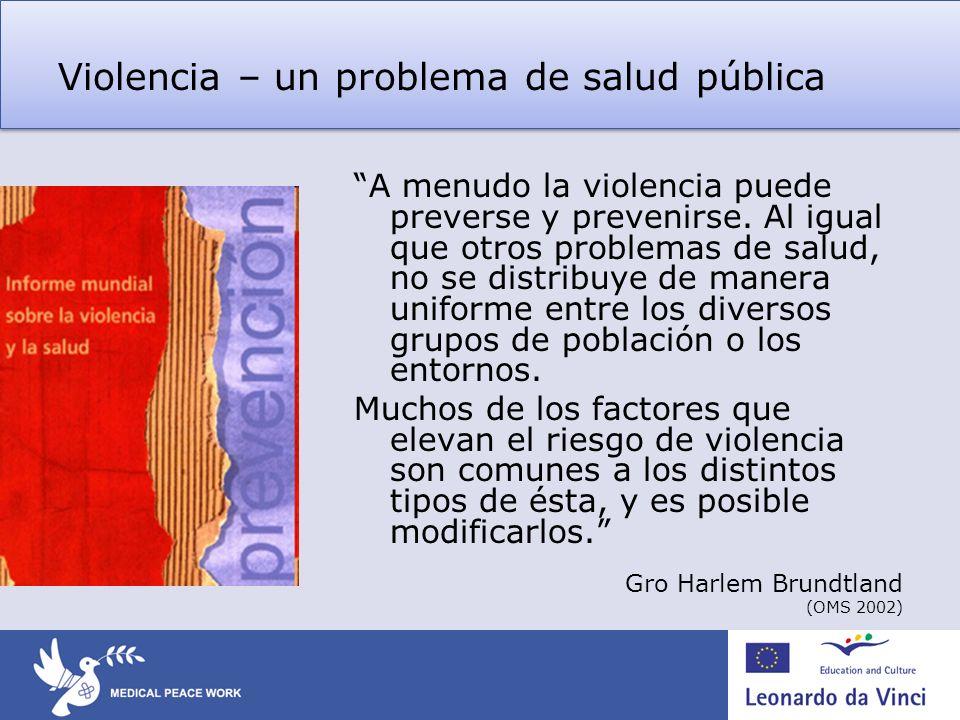 Violencia – un problema de salud pública