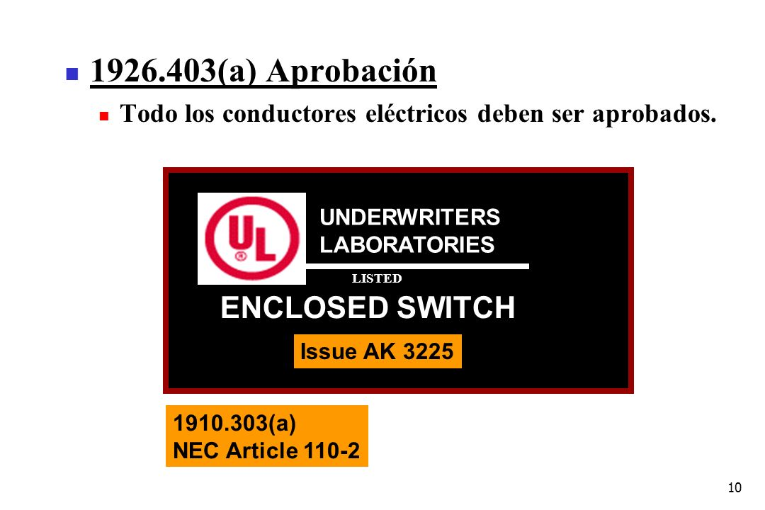 1926.403(a) Aprobación ENCLOSED SWITCH