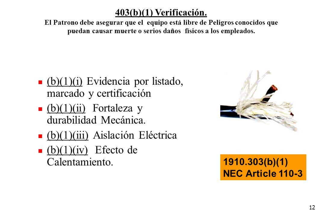 (b)(1)(i) Evidencia por listado, marcado y certificación