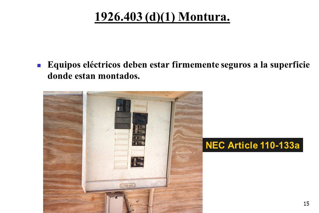 1926.403 (d)(1) Montura. Equipos eléctricos deben estar firmemente seguros a la superficie donde estan montados.