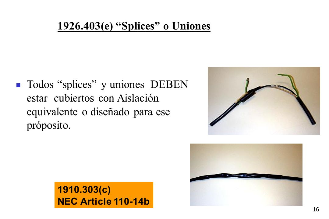 1926.403(e) Splices o Uniones