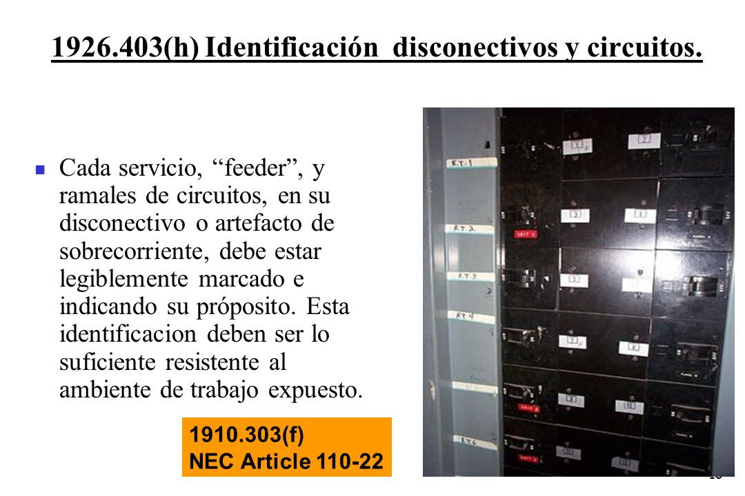 1926.403(h) Identificación disconectivos y circuitos.