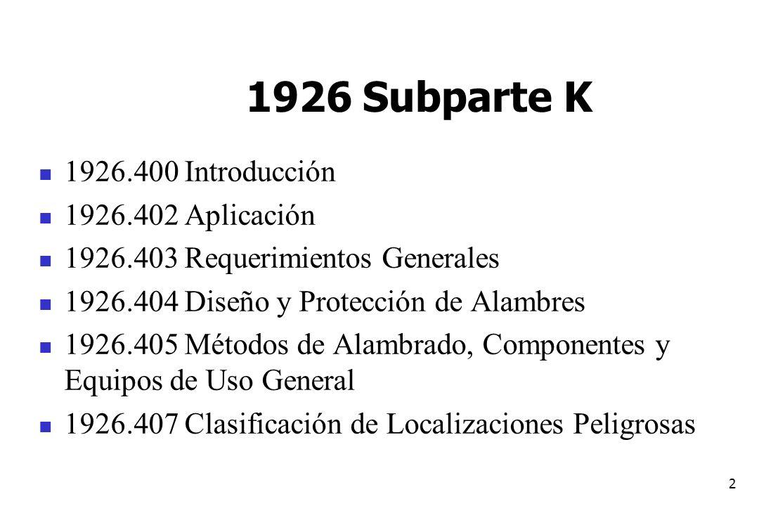 1926 Subparte K 1926.400 Introducción 1926.402 Aplicación