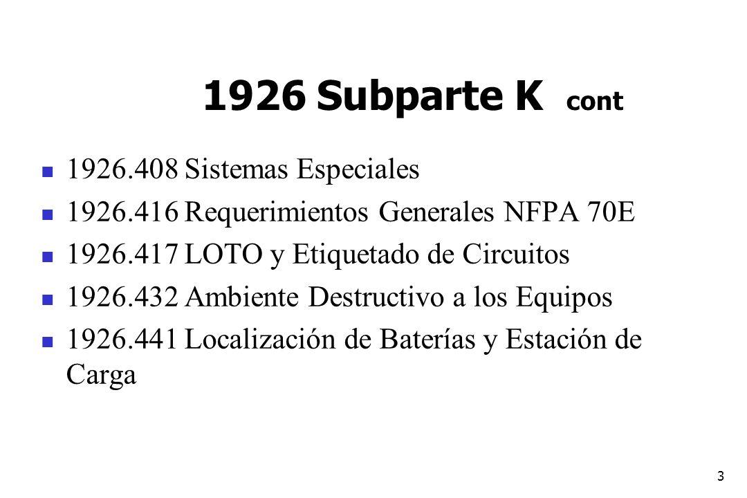 1926 Subparte K cont 1926.408 Sistemas Especiales