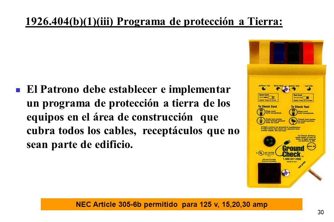 NEC Article 305-6b permitido para 125 v, 15,20,30 amp