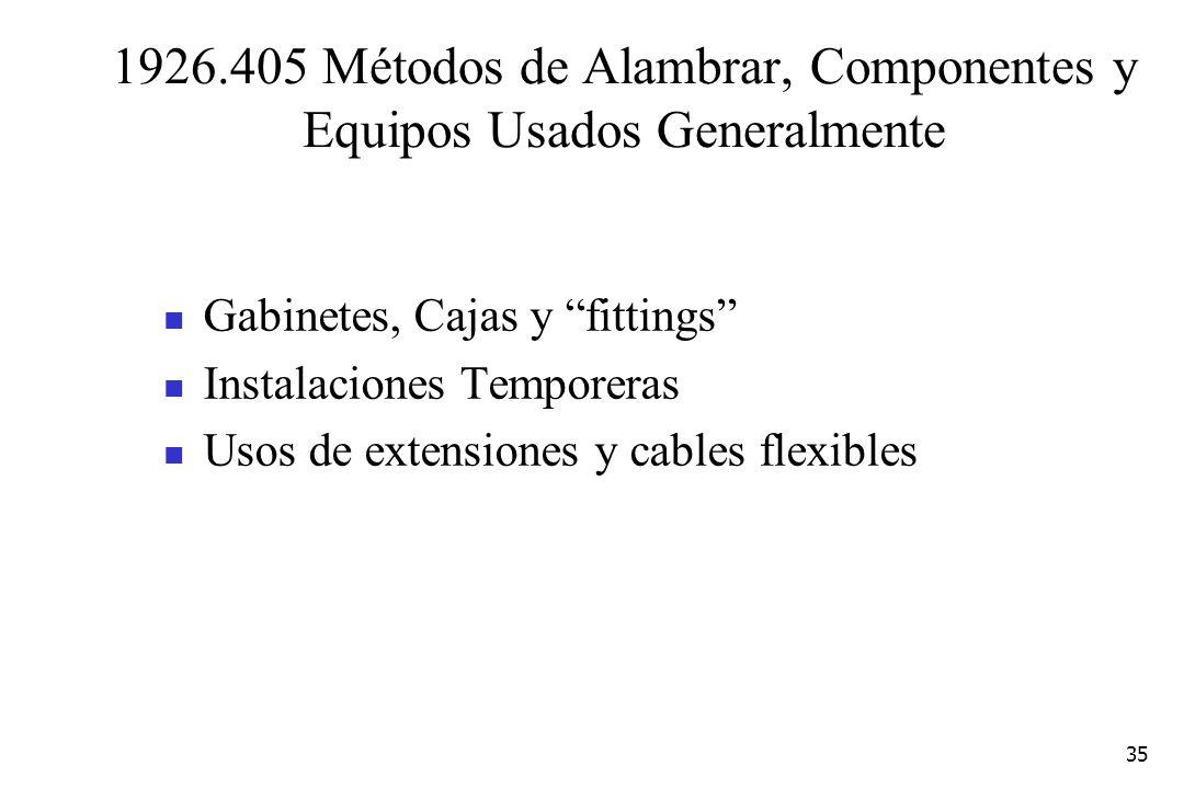 1926.405 Métodos de Alambrar, Componentes y Equipos Usados Generalmente