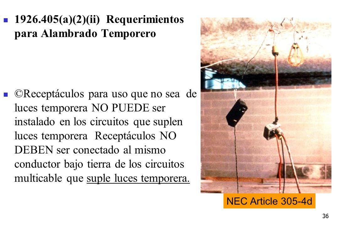 1926.405(a)(2)(ii) Requerimientos para Alambrado Temporero