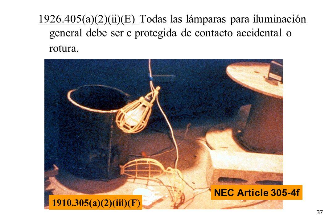 1926.405(a)(2)(ii)(E) Todas las lámparas para iluminación general debe ser e protegida de contacto accidental o rotura.