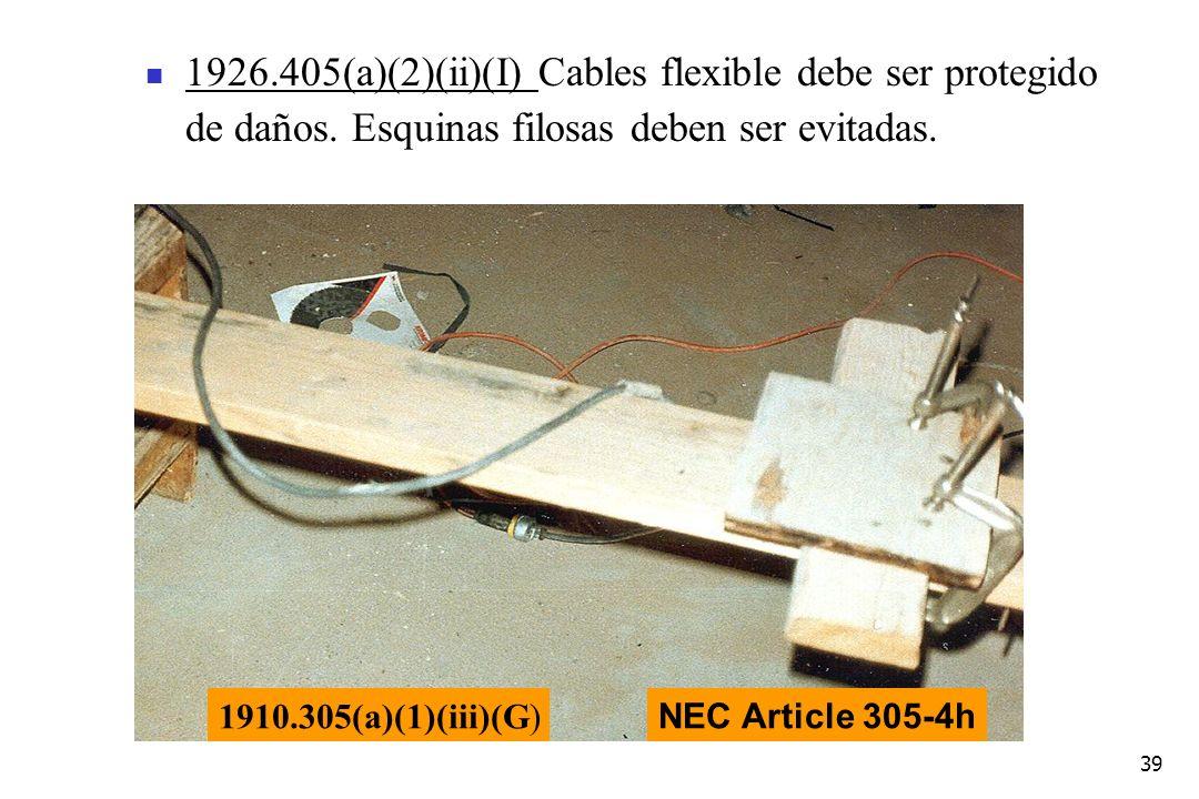 1926. 405(a)(2)(ii)(I) Cables flexible debe ser protegido de daños