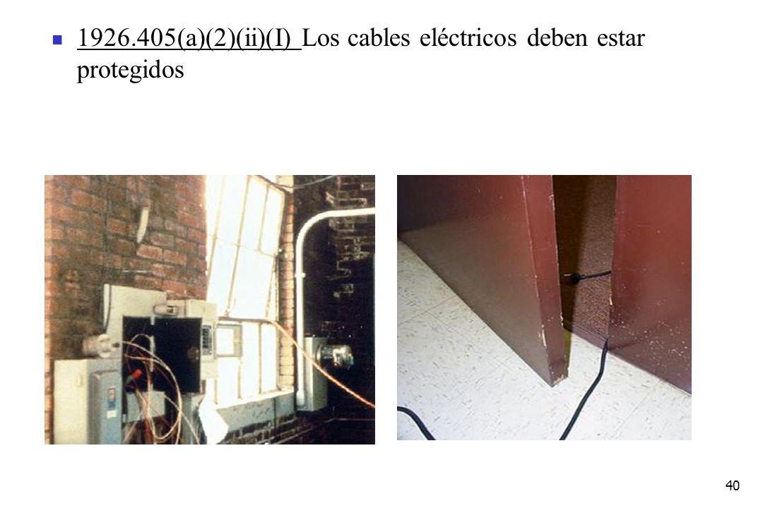 1926.405(a)(2)(ii)(I) Los cables eléctricos deben estar protegidos