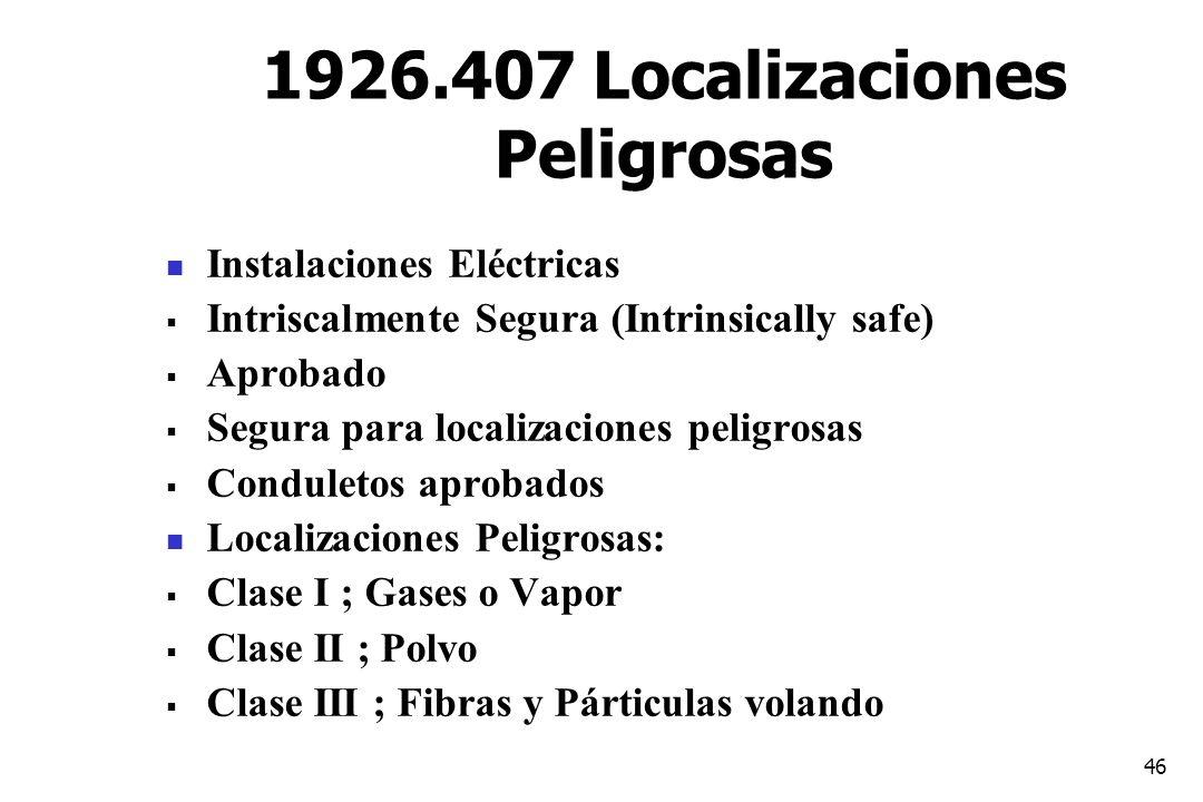 1926.407 Localizaciones Peligrosas