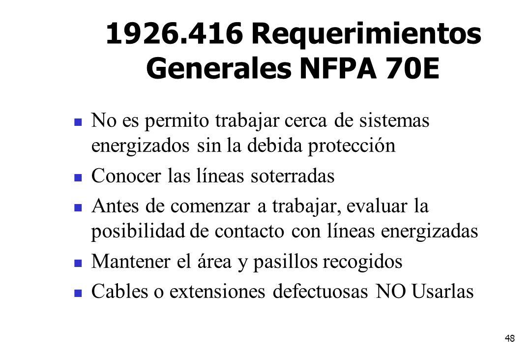 1926.416 Requerimientos Generales NFPA 70E