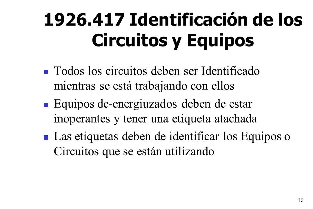 1926.417 Identificación de los Circuitos y Equipos