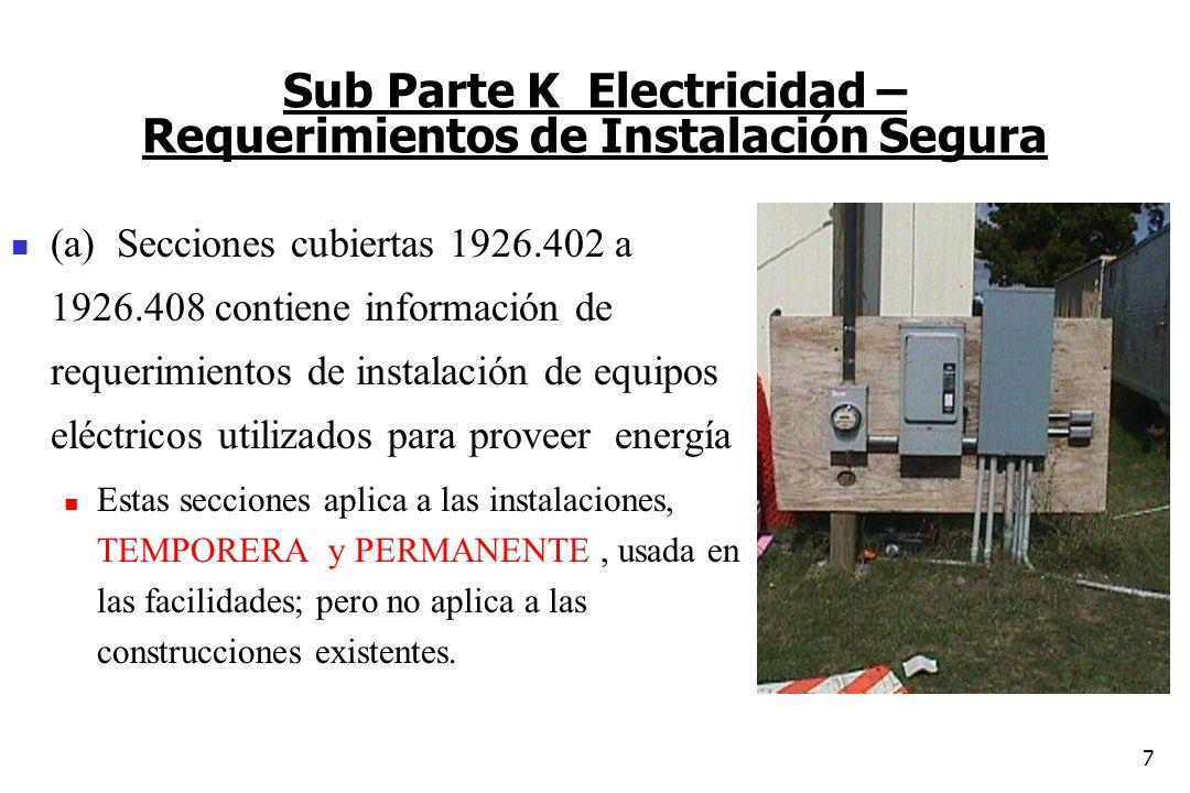 Sub Parte K Electricidad – Requerimientos de Instalación Segura