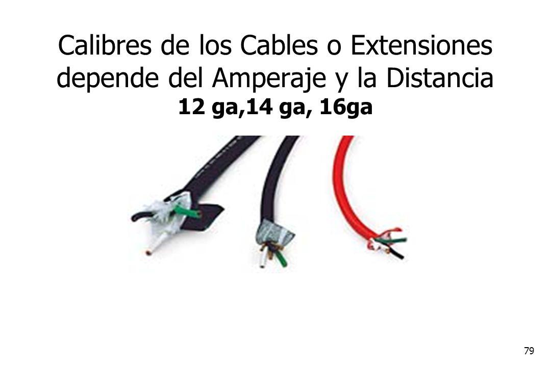 Calibres de los Cables o Extensiones depende del Amperaje y la Distancia 12 ga,14 ga, 16ga
