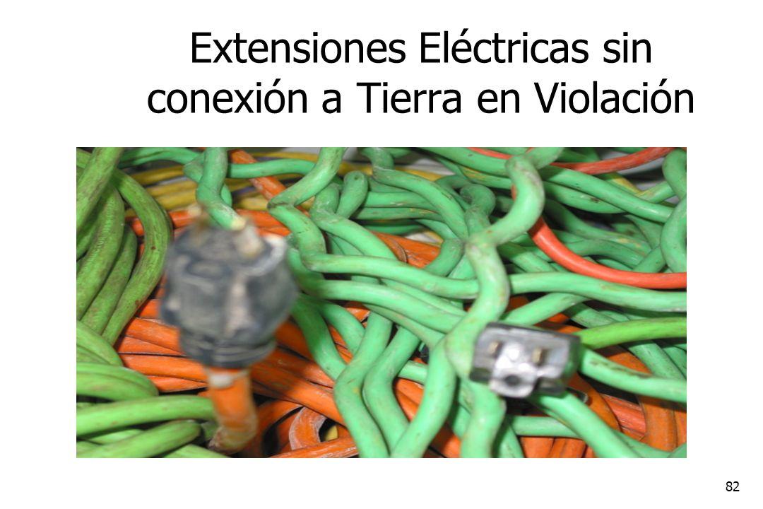 Extensiones Eléctricas sin conexión a Tierra en Violación