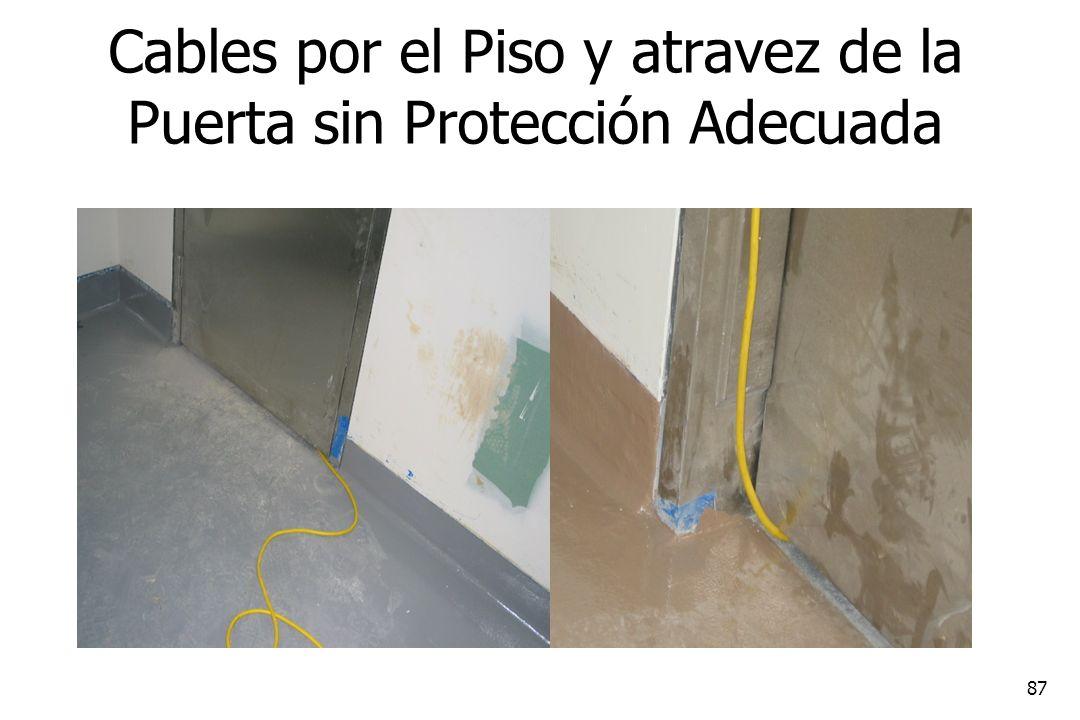 Cables por el Piso y atravez de la Puerta sin Protección Adecuada