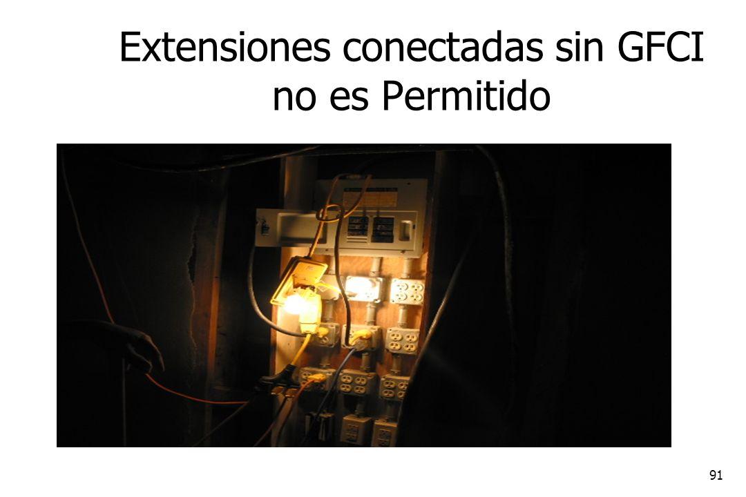 Extensiones conectadas sin GFCI no es Permitido