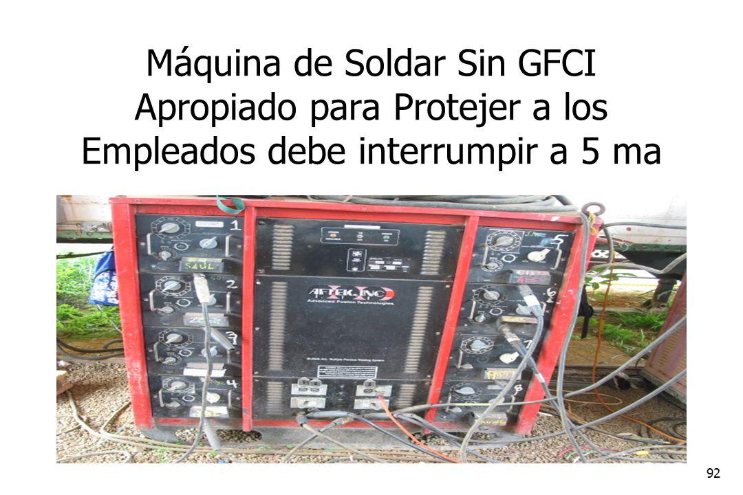 Máquina de Soldar Sin GFCI Apropiado para Protejer a los Empleados debe interrumpir a 5 ma