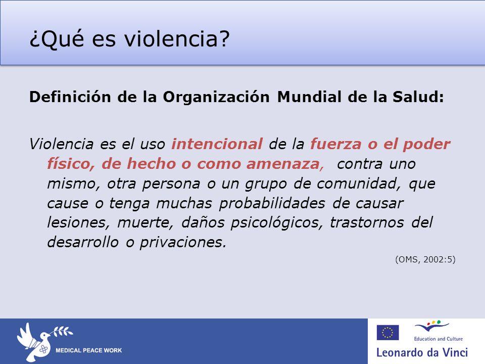 ¿Qué es violencia Definición de la Organización Mundial de la Salud:
