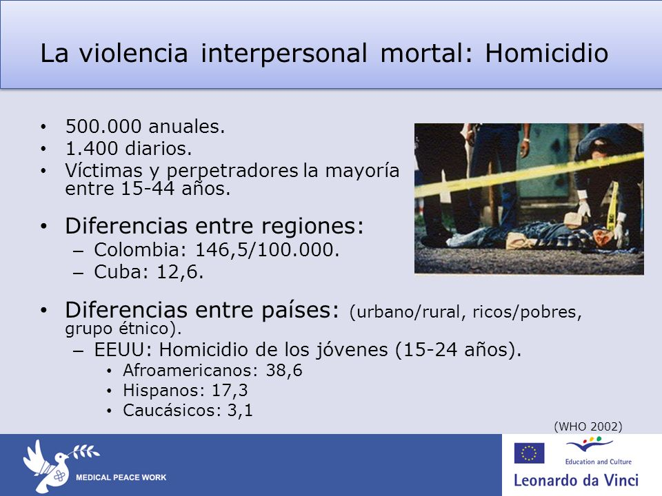 La violencia interpersonal mortal: Homicidio