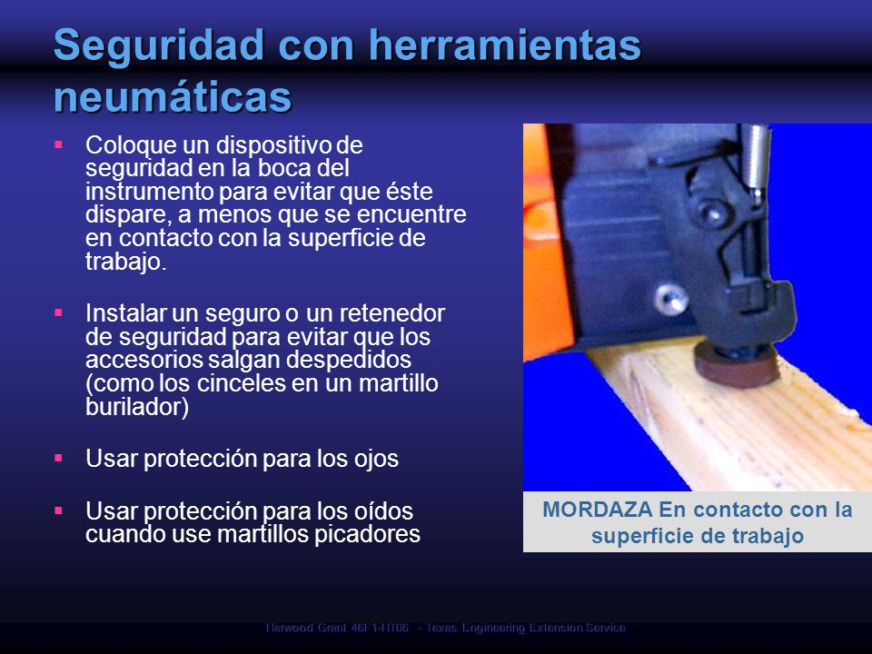 Seguridad con herramientas neumáticas
