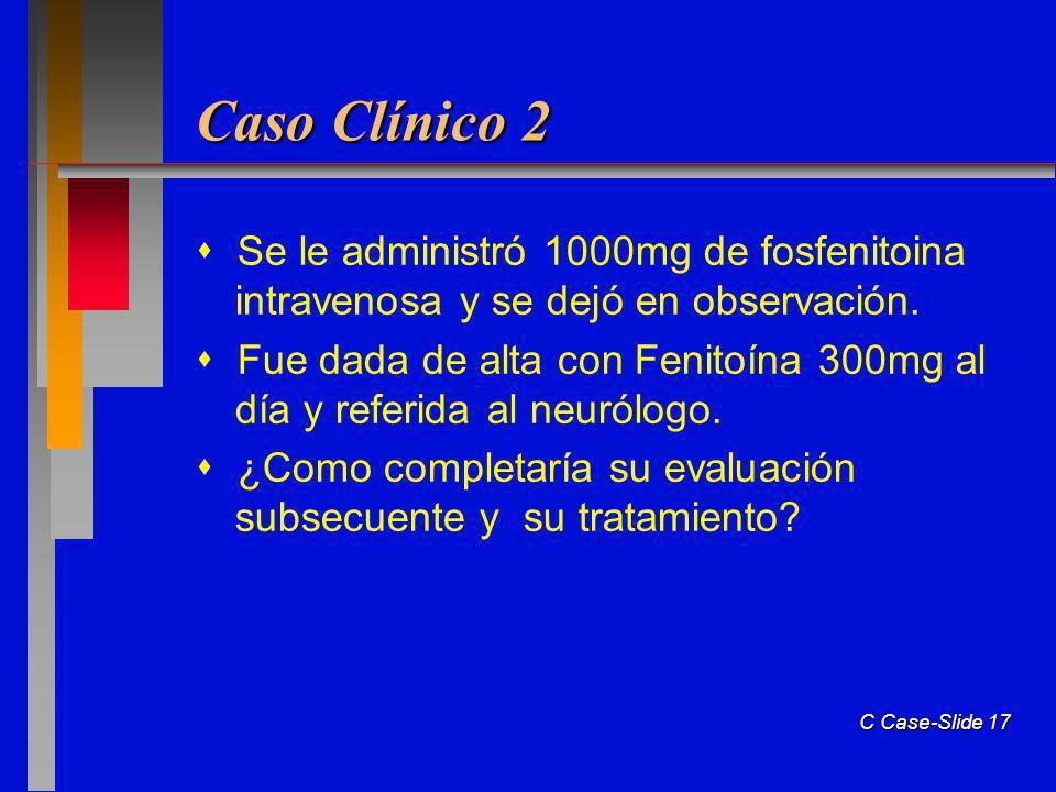 Caso Clínico 2  Se le administró 1000mg de fosfenitoina intravenosa y se dejó en observación.