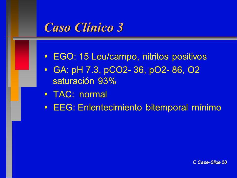 Caso Clínico 3  EGO: 15 Leu/campo, nitritos positivos
