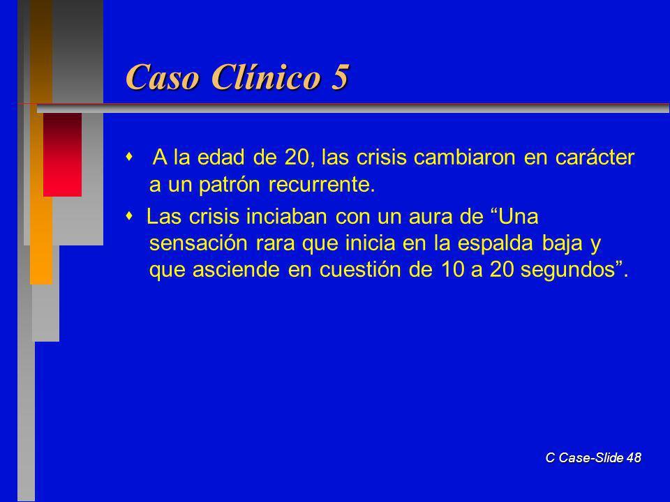 Caso Clínico 5  A la edad de 20, las crisis cambiaron en carácter a un patrón recurrente.