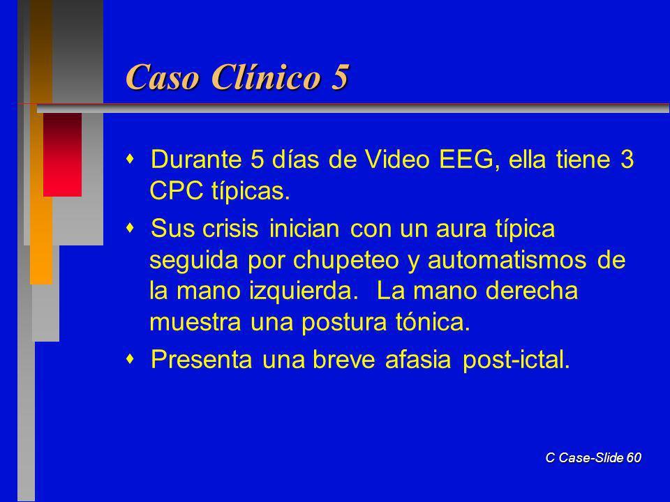 Caso Clínico 5  Durante 5 días de Video EEG, ella tiene 3 CPC típicas.