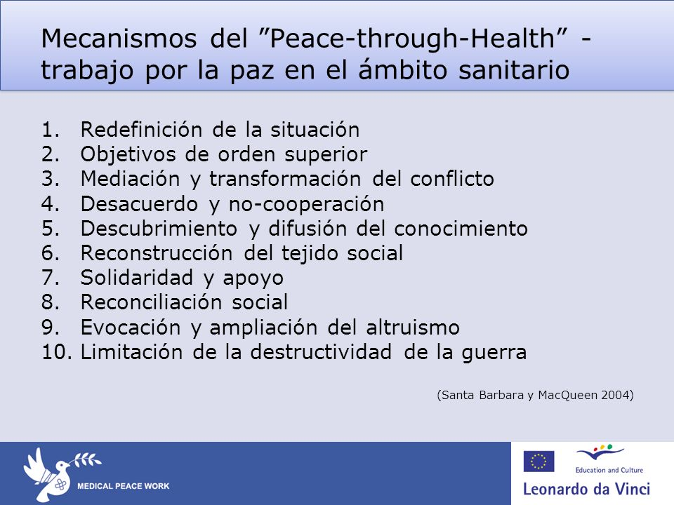 Mecanismos del Peace-through-Health - trabajo por la paz en el ámbito sanitario