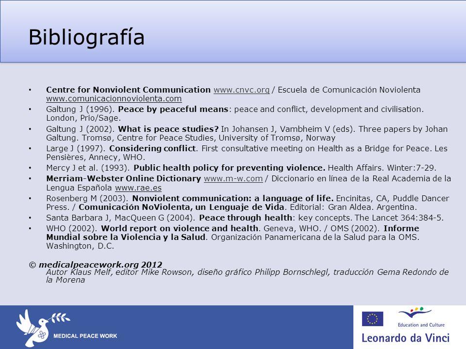 Bibliografía Centre for Nonviolent Communication www.cnvc.org / Escuela de Comunicación Noviolenta www.comunicacionnoviolenta.com.