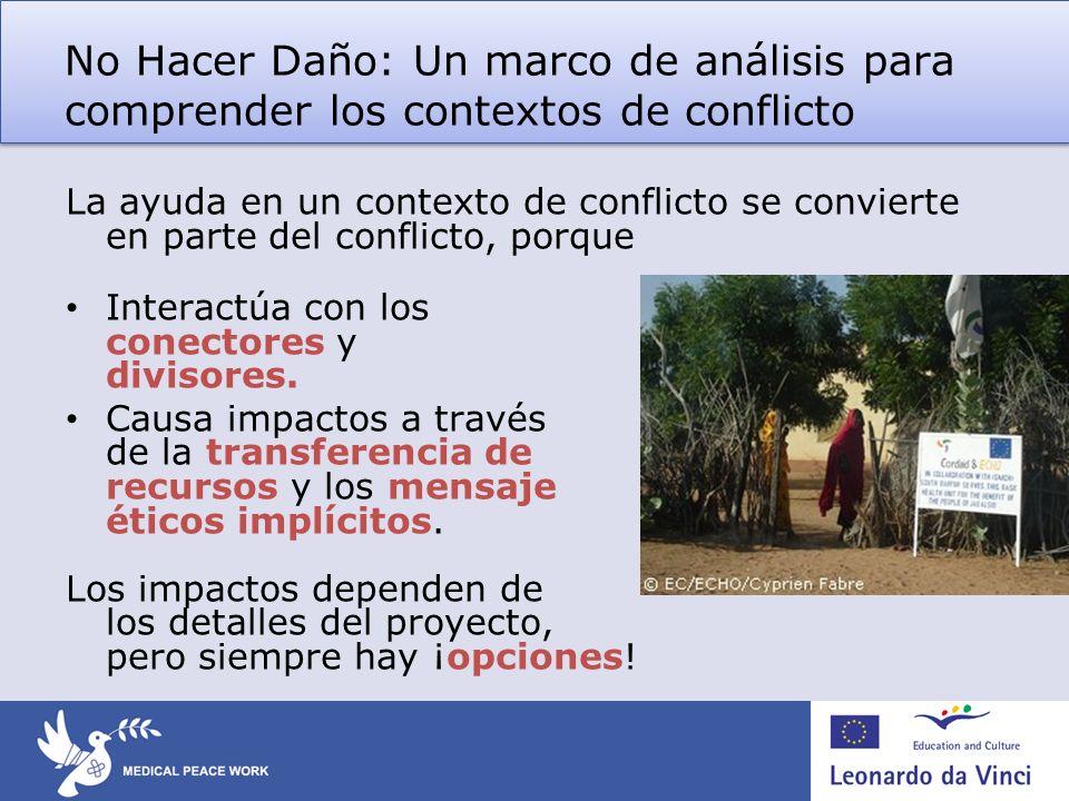 No Hacer Daño: Un marco de análisis para comprender los contextos de conflicto