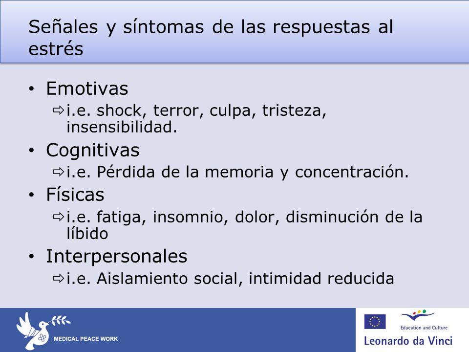 Señales y síntomas de las respuestas al estrés